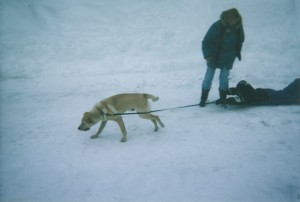 Cory pulling me in the snow