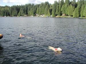 Cory swimming